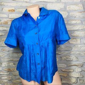 P L Michael Kors Blue Boho Silk Shirt Blue Blouse
